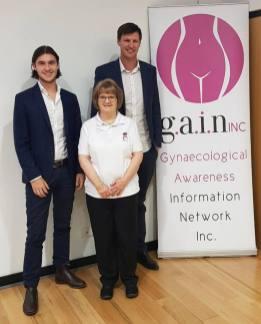 Adam Hay & Bradley Green from St. George Bank. With President Catherine Aurubind.