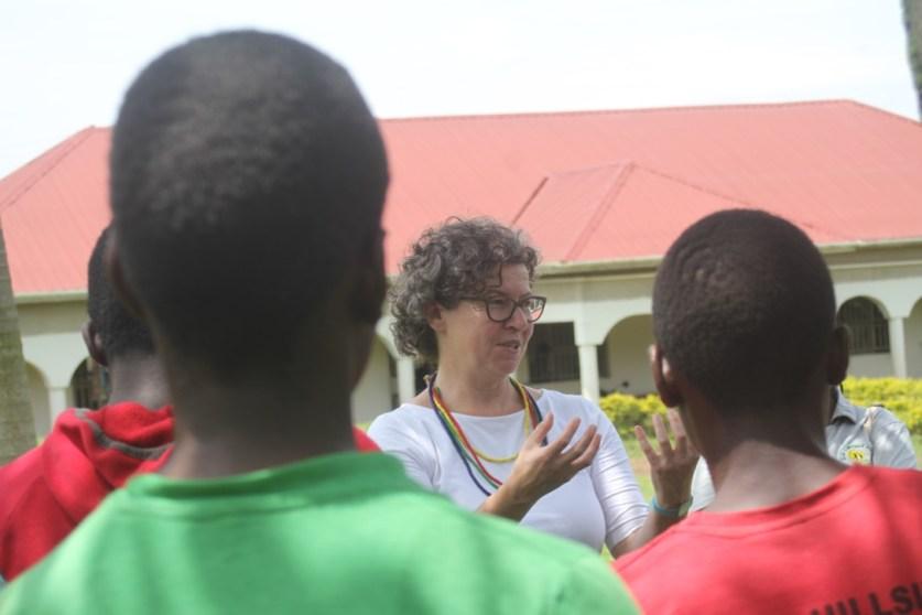 Dr Veronika Praxmarer speaks to students