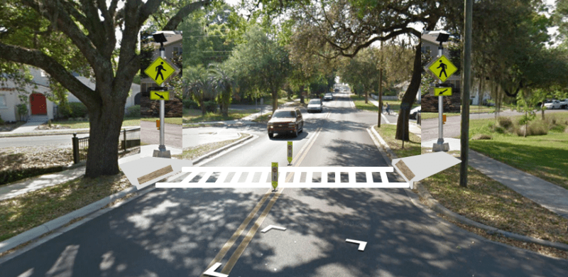 Example of the proposed signalized crosswalk at the intersection of NE 8th Ave and NE Blvd