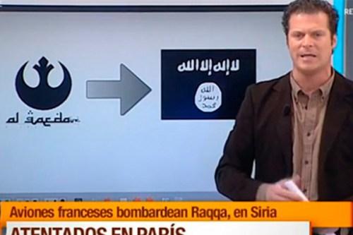 Video: Periodista español confunde el logo de Al Qaeda con el de Alianza Rebelde de Star Wars