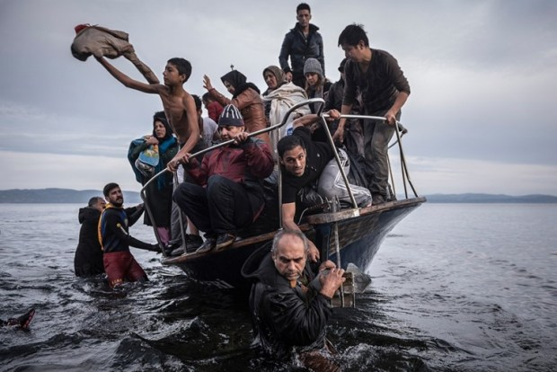 Migrantes llegan en un bote turco a las cercanías de Skala, una aldea en la isla griega Lesbos. El dueño de la embarcación turca transportó alrededor de 150 personas a la costa turca y trató de huir de vuelta a Turquía. Fue arrestado en aguas turcas. (Sergey Ponomarev, The New York Times. 16 de noviembre de 2015).