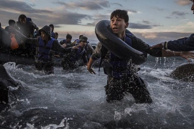 Después de luchar contra vientos y mareas fuertes en su viaje desde Turquía, los migrantes llegan en una balsa plástica a costa escarpada de la isla griega de Lesbos . Ante el temor de volcarse o de que la balsa se desinflara punción, algunos entraron en pánico y saltaron al agua fría buscando desesperadamente llegar a la tierra. Este joven lo hizo, a diferencia de centenares de personas (Tyler Hicks , The New York Times. 1 de octubre de 2015) .