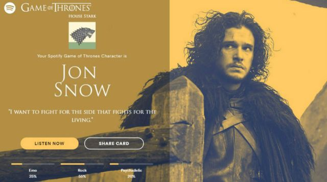 Game of Thrones: ¿Qué personaje eres según Spotify?