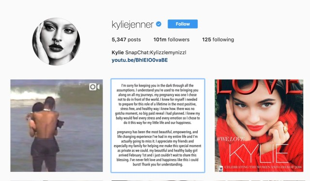Kylie Jenner es mamá: rompe el internet con millones de likes