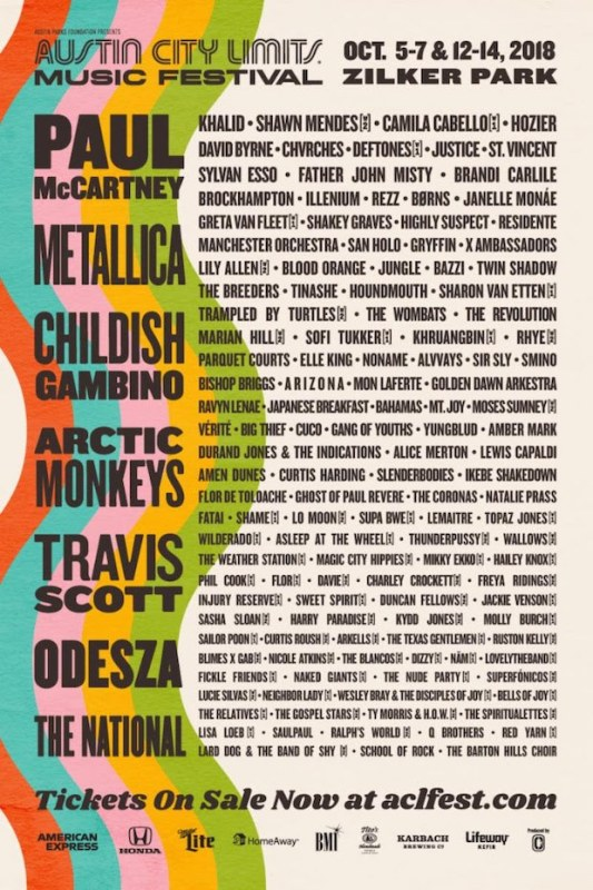 Austin City Limits da a conocer su cartel 2018