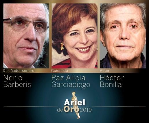 Ariel de Oro 2019 para Paz Alicia Garciadiego, Héctor Bonilla y Nerio Barberis