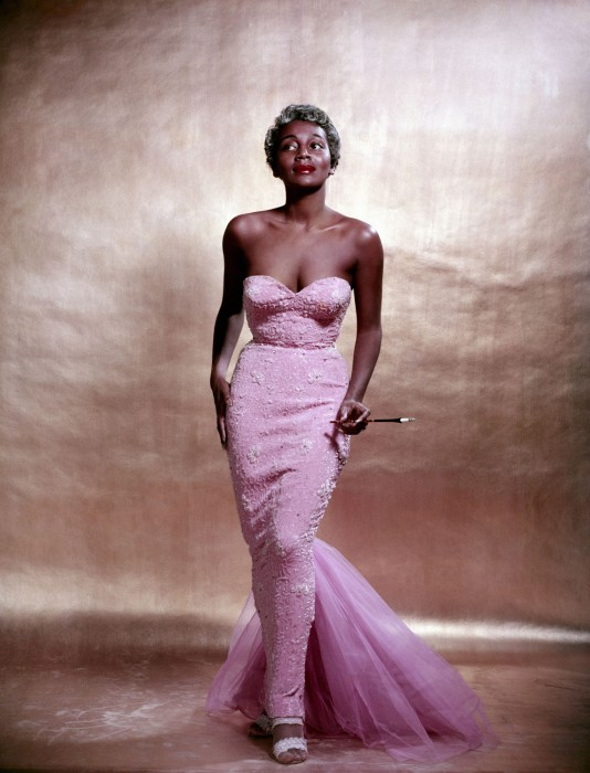 Joyce Bryant in a Zelda Wynn gown. Photographed by Philippe Halsman, in 1954.