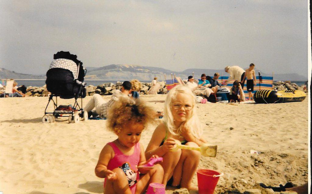 Keziah and Jessie on Lyme beach
