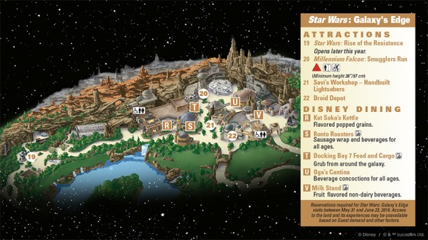Disneyland guide map to Galaxy's Edge