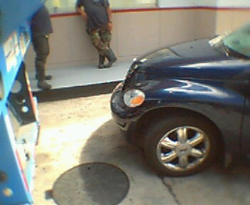 My car, a minute after the accident