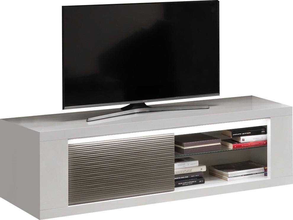 meuble tv design 150 cm laque blanc gris agadir pas cher