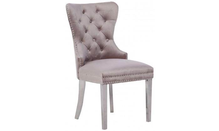 chaises de salle a manger design capitonnees beige pieds chorome anneau