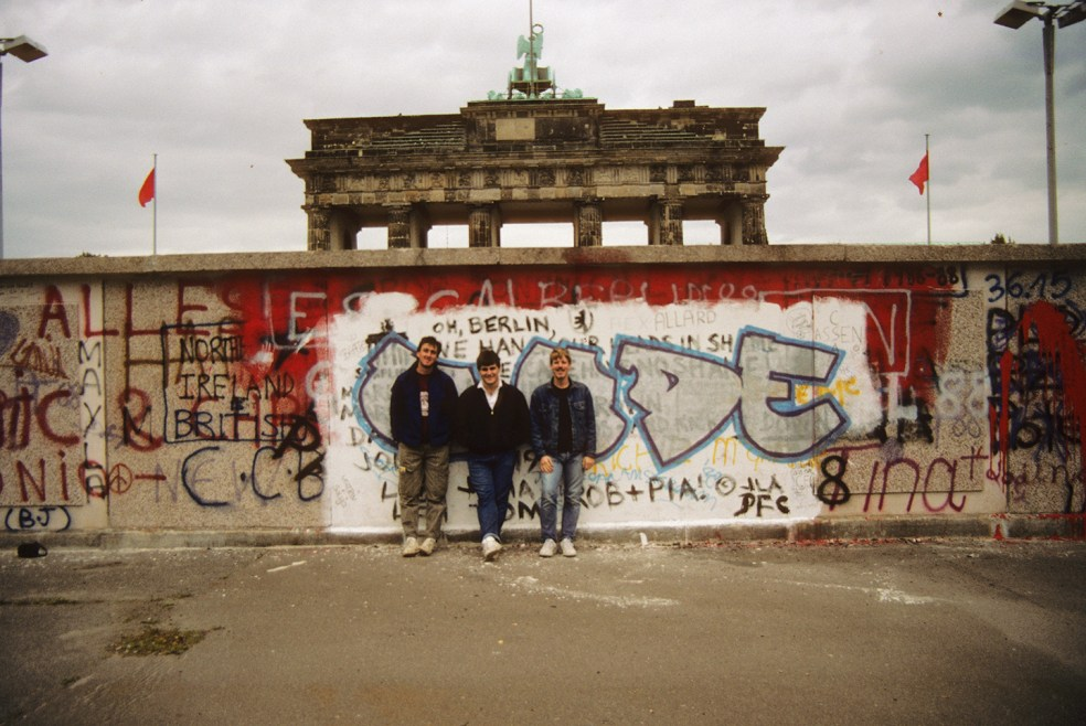 Jeff and friends at the Berlin Wall, 1988
