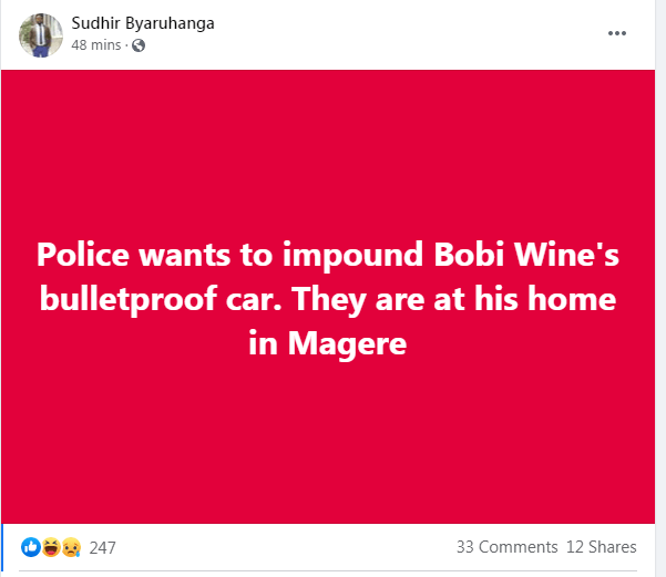 police at Bobi's home for his car, Sudhir reports