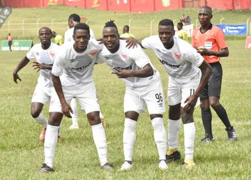 Express FC defender Murushid Juuko leads his colleagues in one of their recent success stories