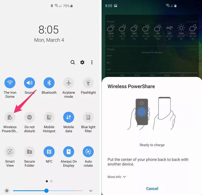 enable wireless powershare galaxy s21