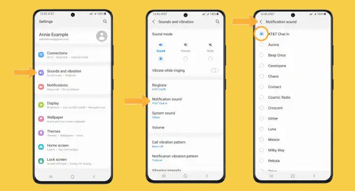 customize notification sound on galaxy-s21