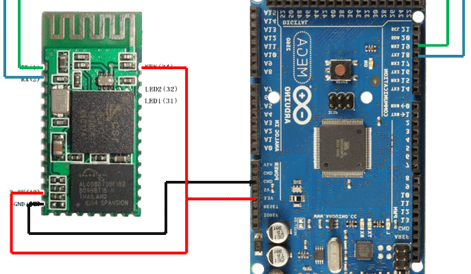 Interfacing Bluetooth HC-05 with Arduino, Connection Diagram - bluetooth device in command/ Master mode