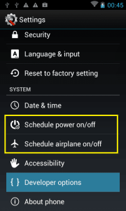 settings to Schedule power on/off and schedule airplane mode