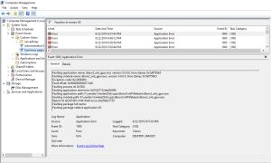 event viewer showing application error