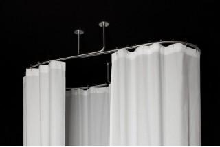dispositif de barres de rideau de douche ovale plafond galbotwins