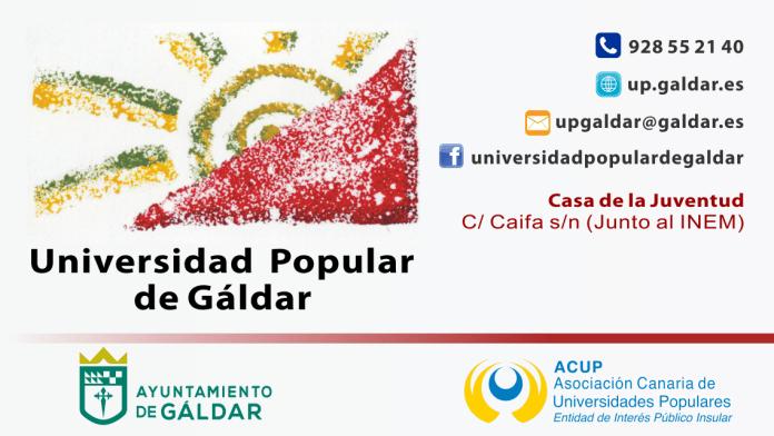 El Ayuntamiento de Gáldar clausura y entrega este viernes los diplomas del Curso 2018/2019 de la Universidad Popular