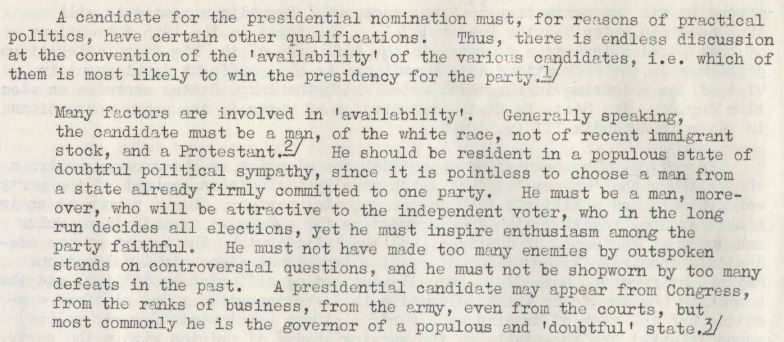 Margaret Cornell, 'The Machinery of the United States Presidential Election'; Pamphlets and Reports, March 1960