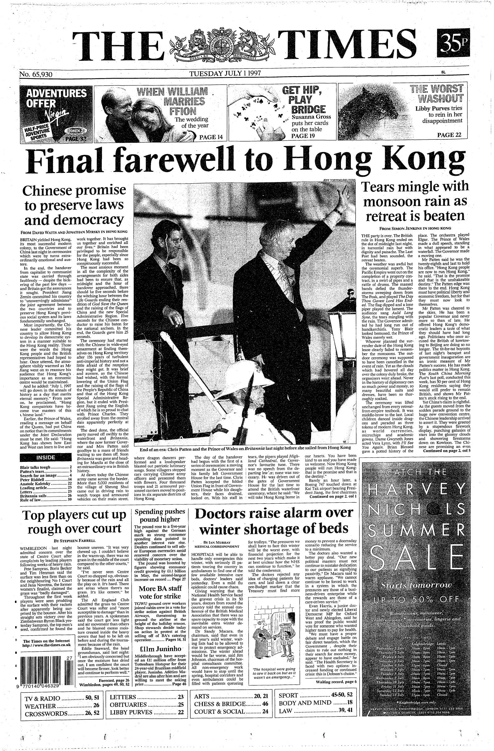 Tears, Cheers, The Archers, and Soy Sauce: The Hong Kong Handover of 1997