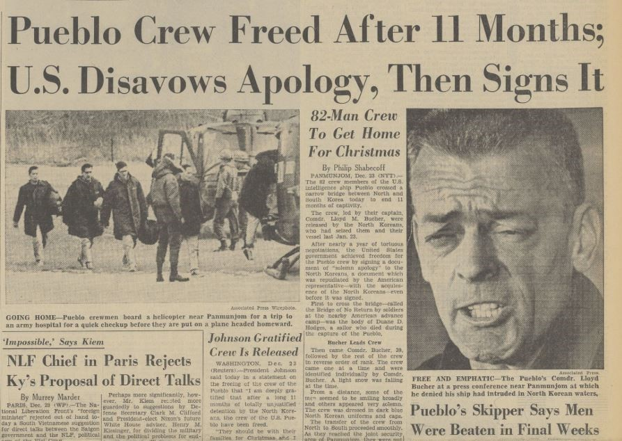 """""""U.S. Disavows Apology, Then Signs It"""" The Pueblo Incident of 1968"""