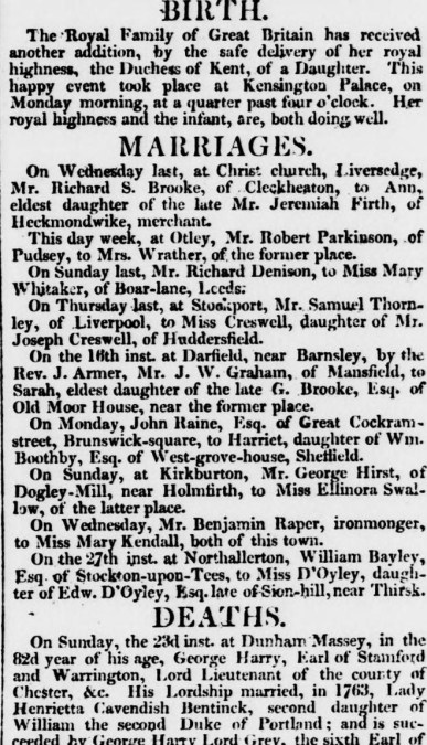 British Royal Babies - the birth of Queen Victoria announced in the Leeds Intelligencer