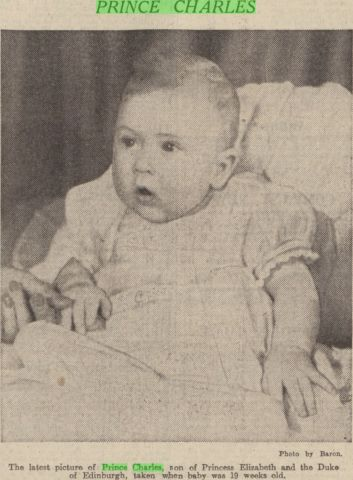 British Royal Babies - Prince Charles pictured in the Dundee Courier 1949
