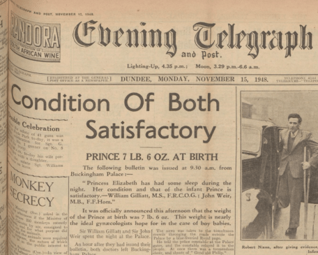 Royal Babies through the ages - full cover story on the birth of Prince Charles in the Evening Telegraph