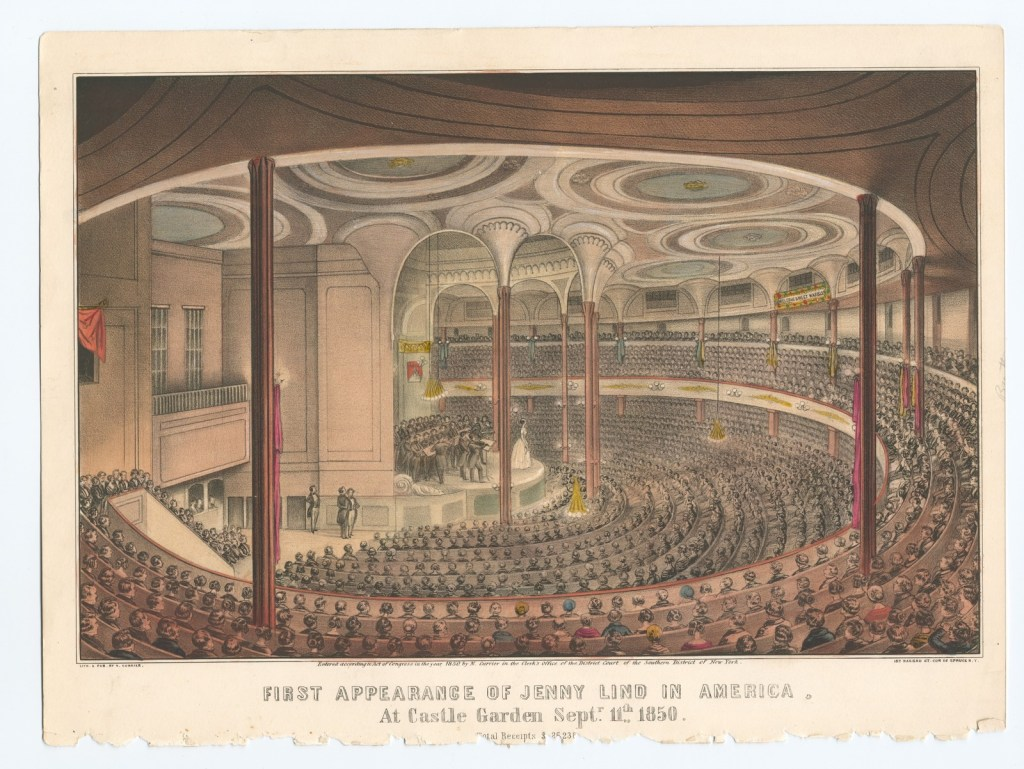 "Jenny Lind's first concerts in America took place in Castle Garden – later known as Castle Clinton – an old sea fortress that was turned into an immigration center a few years after the concerts.  The Miriam and Ira D. Wallach Division of Art, Prints and Photographs: Print Collection, The New York Public Library. ""First Appearance of Jenny Lind in America"" The New York Public Library Digital Collections."