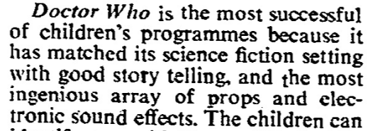 "Dr Who's success."" Times, 4 Sept. 1967, p. 5. The Times Digital Archive"