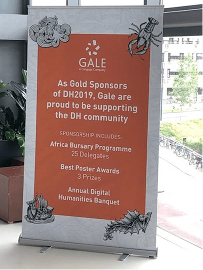 Gale served as Gold sponsors for the DH2019 conference. The sponsor included the Africa Bursary Programme, Best Poster Awards and the Annual Digital Humanities Banquet.