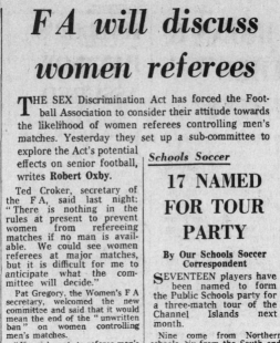 """Oxby, Robert. """"FA will discuss women referees."""" Daily Telegraph, 16 Mar. 1976, p. 26. The Telegraph Historical Archive"""