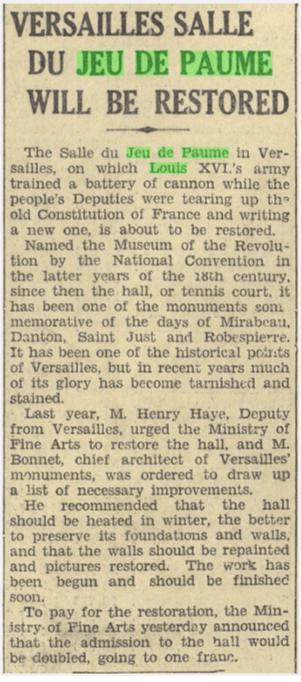 """Versailles Salle Du Jeu De Paume Will Be Restored."" New York Herald [European Edition], 26 Sept. 1929, p. 9. International Herald Tribune Historical Archive 1887-2013"