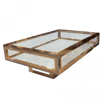 table basse vitrine en chrome et laiton