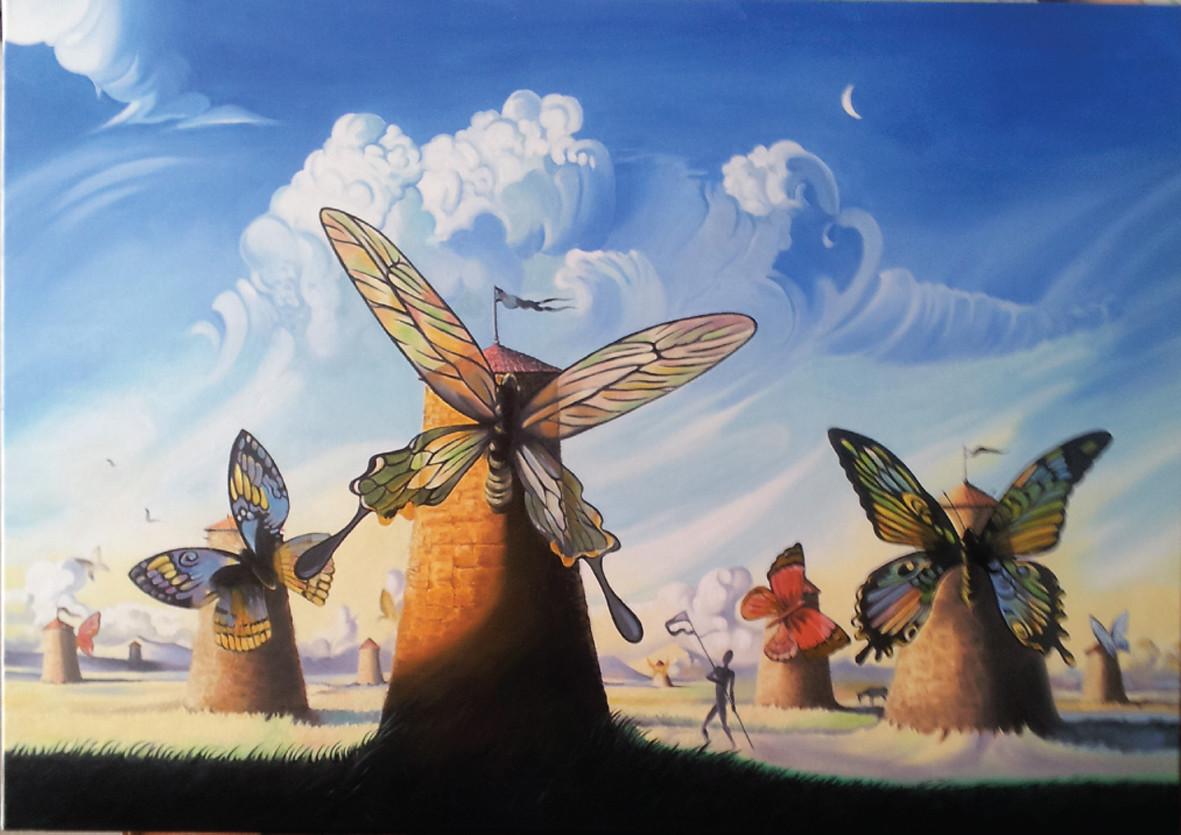 Peinture Moulins Papillons