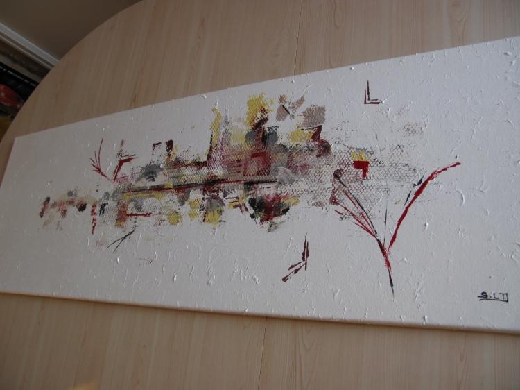 TABLEAU PEINTURE Rouge Noir Or Argent Tableau Abstrait