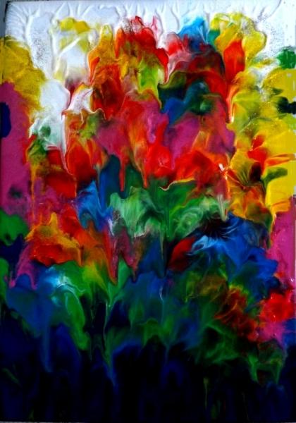 TABLEAU PEINTURE Abstrait Multicolore Fleurs De Stalactites