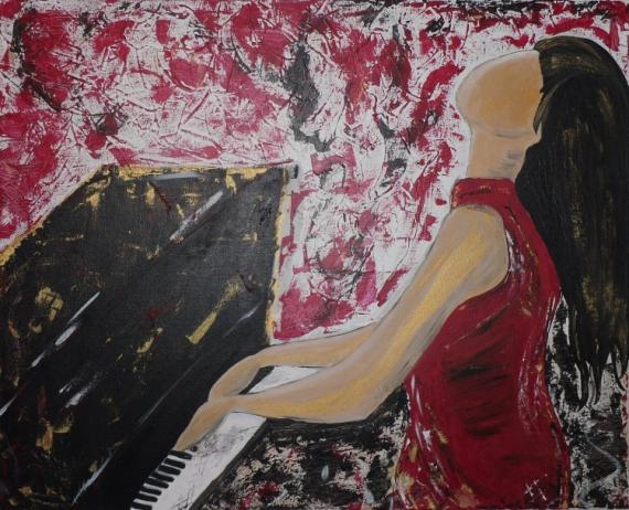 TABLEAU PEINTURE Piano Musicien Personnage Rouge La Pianiste