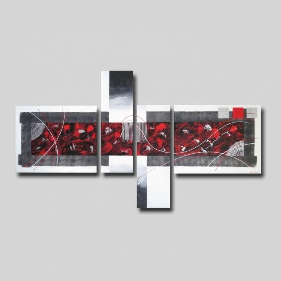 Tableau Peinture Tableau Moderne Rouge Xxl Tableau Toile Blanc Rouge Gris Noir Art Contemporain Moderne Abs