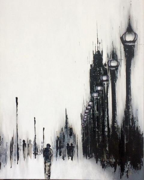 Tableau Peinture Ville Visite En Noir Et Blanc