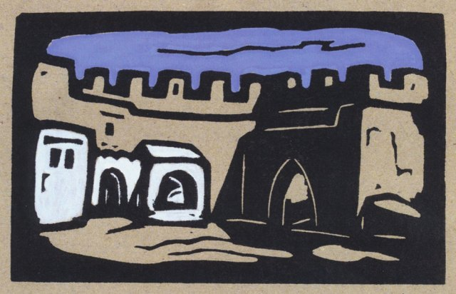 Tanger, Marokko, Stadttor, 9 x 14 cm, 28.04.2017, Nr. 737, Linolschnitt