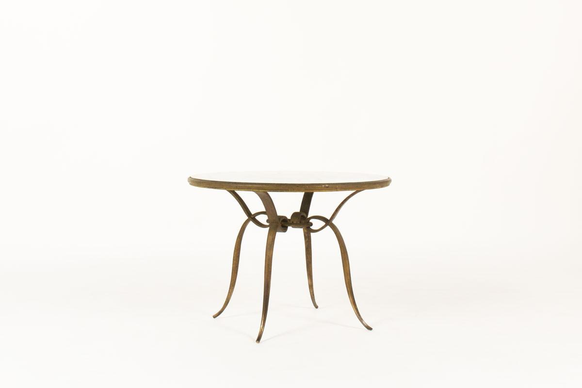 Table Basse Ronde Rene Prou Metal Dore Patine Et Plateau Verre Serigraphie 1930