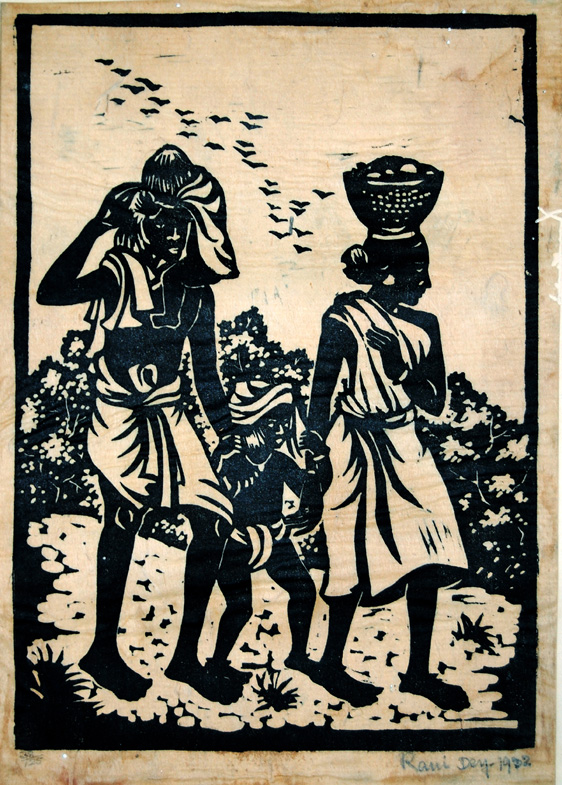 Linocut 1902 Rani Chanda family going home form the market