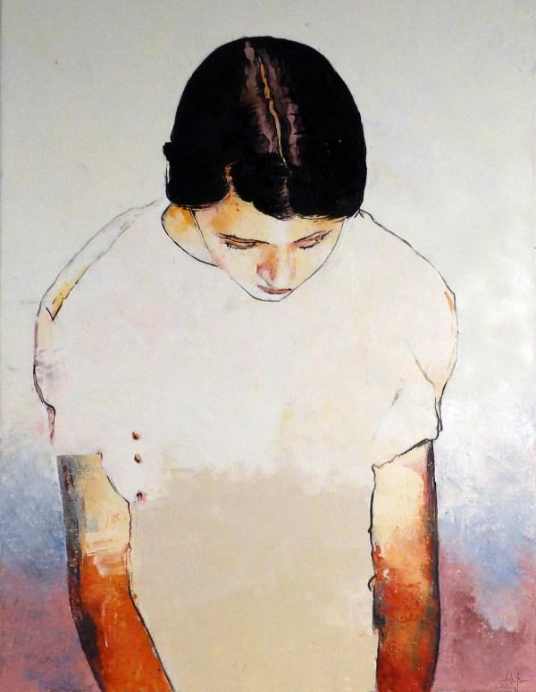Jeune fille aux bras rouge. Peinture de Alain Lafabrègue
