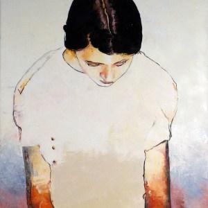 Jeune fille aux bras rouges, peinture de Alain Lafabrègue
