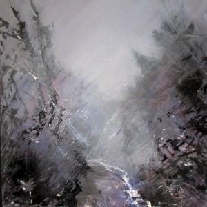 Forêt entre chien et loup, peinture de Simon C.